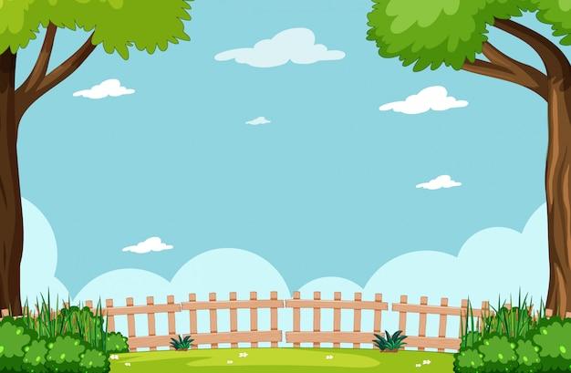 Puste niebo w natura parku sceny z drzewa