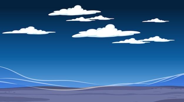 Puste niebo w nocnej scenie z pustym krajobrazem powodzi
