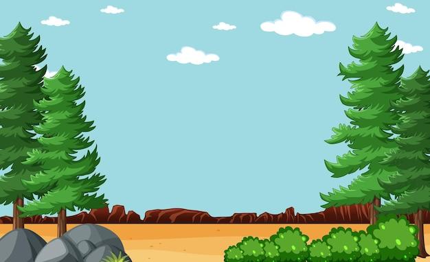 Puste niebo w scenie parku przyrody z drzewem