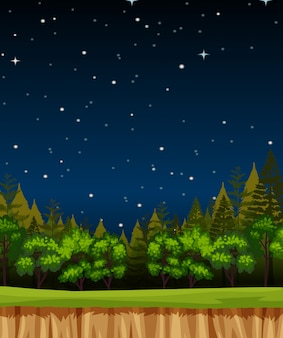 Puste nocne niebo w tle sceny z sosny w lesie