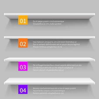 Puste nowoczesne sklepowe półki 3d na produkt. sklep szablon wektor infographic wnętrza.