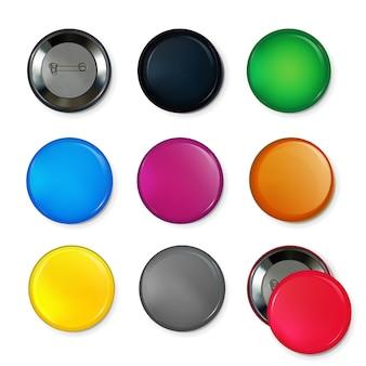 Puste odznaki koło lub przyciski w różnych kolorach.