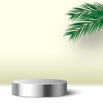 Puste okrągłe metalowe podium z platformą do wyświetlania produktów kosmetycznych z liści palmowych,