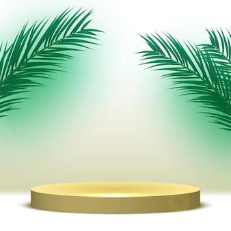 Puste okrągłe podium pedestal platforma do wyświetlania produktów kosmetycznych z liśćmi palmowymi etap renderowania 3d