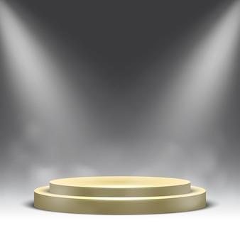 Puste okrągłe podium z reflektorami i parą. piedestał.
