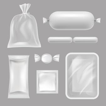 Puste opakowania żywności. realistyczne zdjęcia opakowań z polietylenu