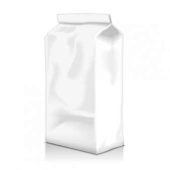 Puste opakowanie torby na żywność z kawy, mąki, cukru, pieprzu, przekąsek lub na wynos. szablon pakietu produktów