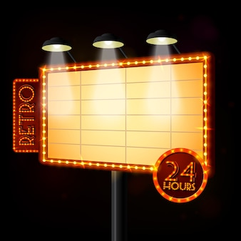 Puste oświetlony plakat billboard