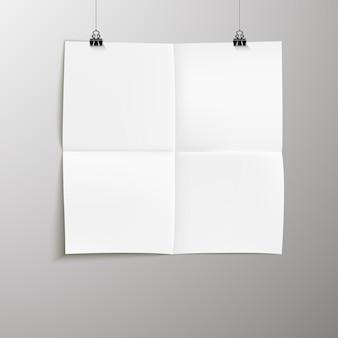 Puste plakaty wisiały w cieniach. wiszący papier na wiązaniach. strona papieru a4, układ, arkusz na ścianie