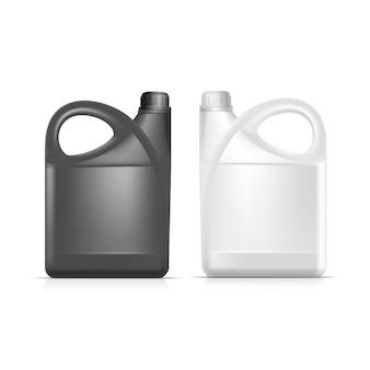 Puste plastikowe kanister jerrycan gallon oil cleanser detergent abstergent na białym tle