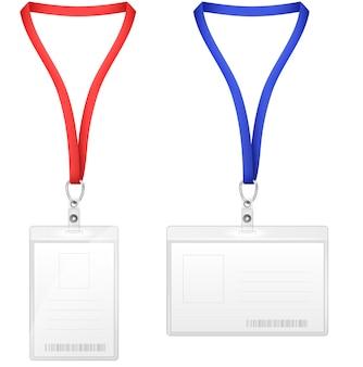 Puste plastikowe karty identyfikacyjne pionowe i poziome.