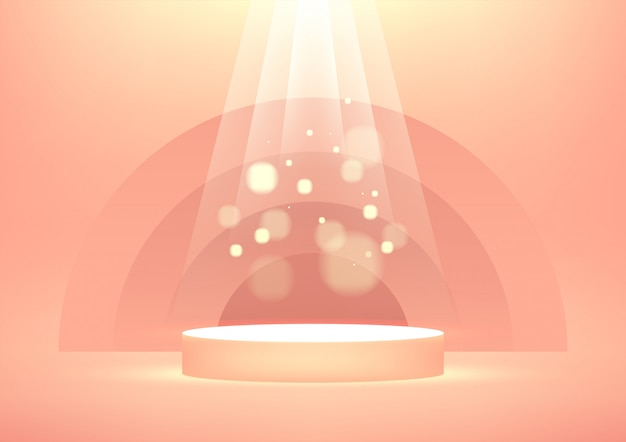 Puste podium z błyszczącymi promieniami światła