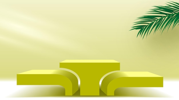 Puste podium z liśćmi palmowymi żółty cokół z produktami kosmetycznymi platforma wyświetlania 3d etap renderowania