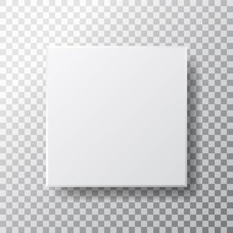Puste pole kwadrat na białym tle. realistyczne białe pudełko z widokiem z góry i cieniem