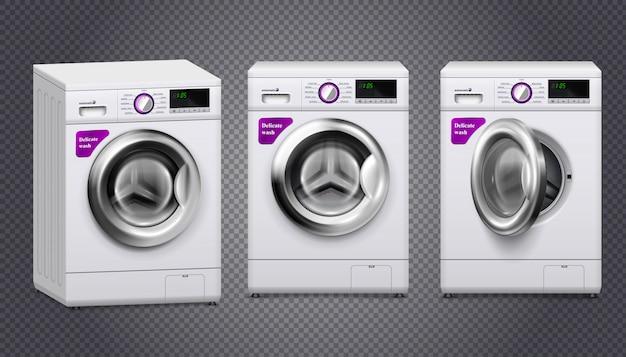 Puste pralki w kolorze białym i srebrnym zestaw na przezroczystym tle