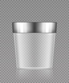 Puste przezroczyste plastikowe wiadro ze srebrną nakrętką 3d realistyczna makieta wektorowa