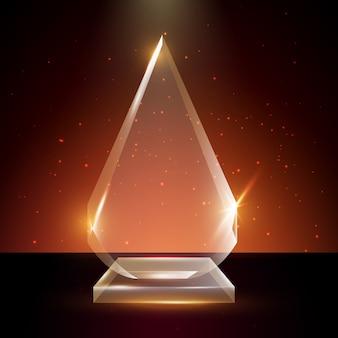 Puste przezroczyste szkło trofeum nagroda szablon w świecącym tle