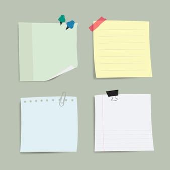 Puste przypomnienie papieru notatki wektor zestaw