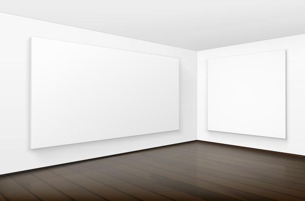 Puste puste białe makiety plakaty ramki do zdjęć na ścianach z brązową drewnianą podłogą w galerii