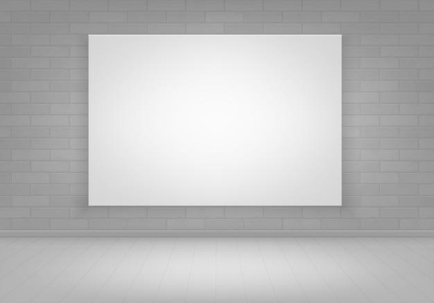 Puste puste białe plakatowe ramki na zdjęcia na ścianie z cegły z widokiem na podłogę
