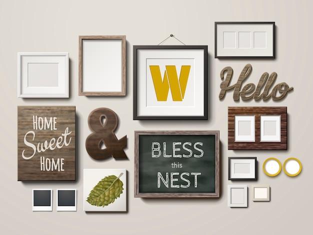 Puste ramki do zdjęć w różnych kształtach i tablica wisząca na ścianie, ilustracja 3d w realistycznym stylu