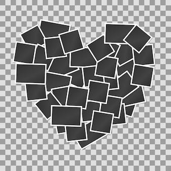 Puste realistyczne ramki do zdjęć vintage w tle w kształcie serca.