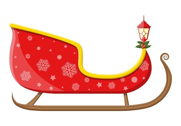 Puste sanie świętego mikołaja z płatkami śniegu, ostrokrzewem i lampą. dekoracja szczęśliwego nowego roku. wesołych świąt bożego narodzenia. nowy rok i święta bożego narodzenia.