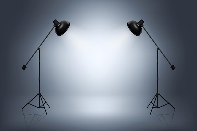 Puste studio fotograficzne z reflektorami