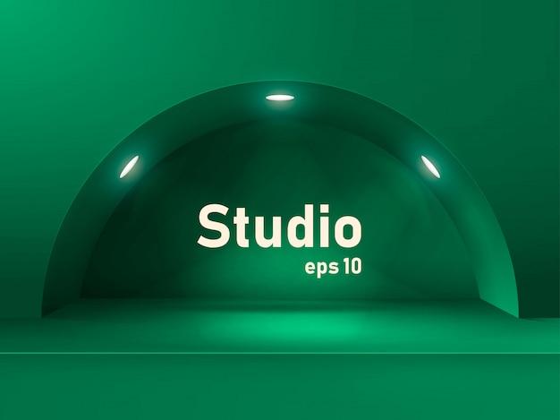 Puste studio z oświetleniem.