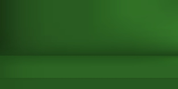 Puste studio zielony kolor. tło pokoju, wyświetlacz produktu z miejscem na kopię do wyświetlania projektu treści. ilustracja.