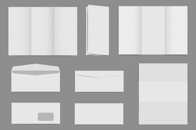 Puste szablony broszury i koperty, obraz makiety