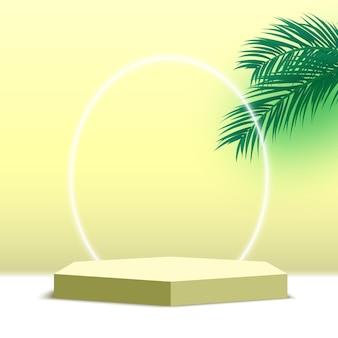 Puste sześciokątne podium z platformą do wyświetlania produktów kosmetycznych z liści palmowych,