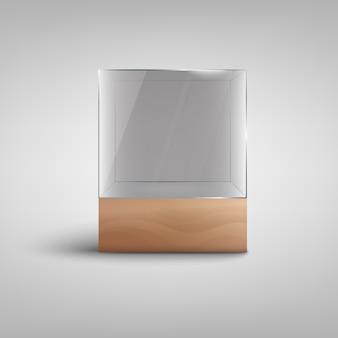 Puste szklane pudełko - realistyczna makieta stojaka na obiekty z pustą przestrzenią na kopię na drewnianej podstawie. ilustracja wektorowa półki wystawowej.