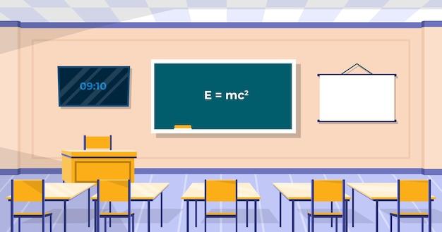 Puste tło klasy szkolnej do wideokonferencji