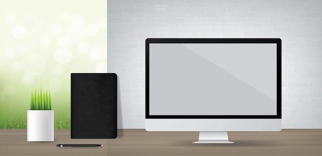 Puste tło wyświetlacza komputera. otoczenie biznesu dla projektowania stron internetowych lub szablonu. ilustracja wektorowa.
