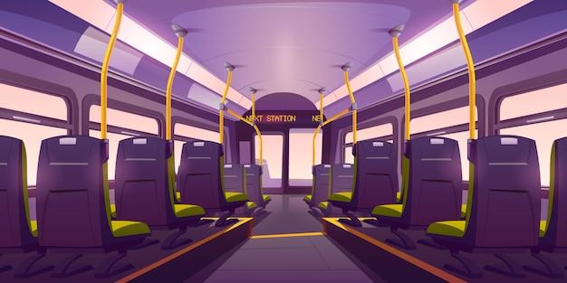 Puste wnętrze autobusu lub pociągu z krzesłami, widok z tyłu