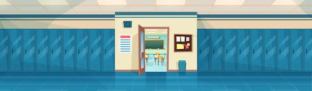 Puste wnętrze korytarza szkolnego z rzędem szafek i otwarte drzwi w klasie. baner poziomy. kreskówka hala kampusu college'u lub hol uniwersytecki. ilustracja wektorowa w stylu płaskiej