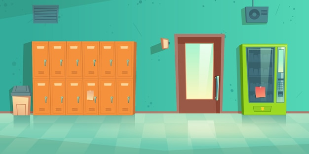 Puste wnętrze szkolnego korytarza z metalowymi szafkami