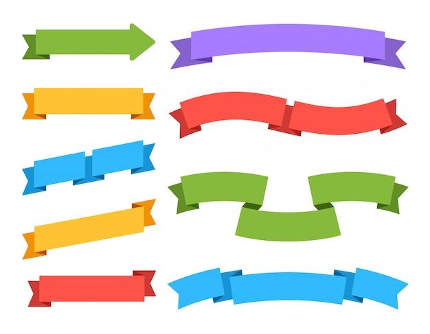Puste wstążki. kolorowe etykiety cena banery i zakładki vintage tagi na białym tle zestaw