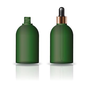 Puste zielone okrągłe butelki kosmetyczne z pokrywką zakraplacz.