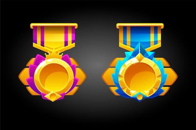 Puste złote medale za grę.