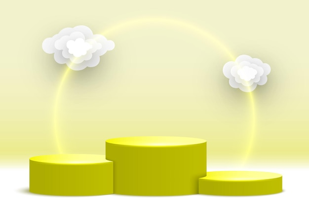 Puste żółte podium z chmurami na cokole stoisko wystawiennicze platformy wystawowej