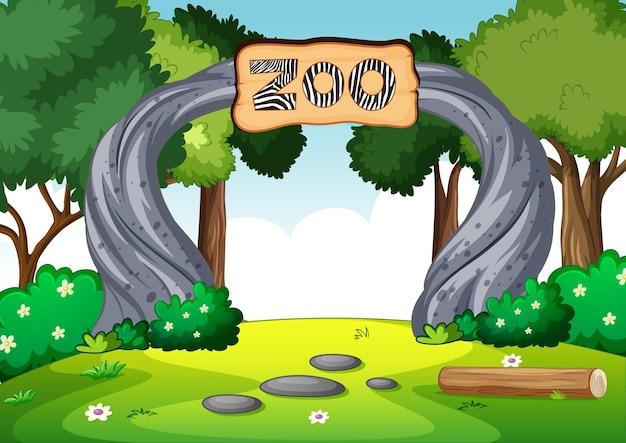Puste zoo w scenie przyrody