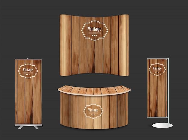 Pustego wystawy handlowa budka wystawy stojaka tekstury drewniany tło