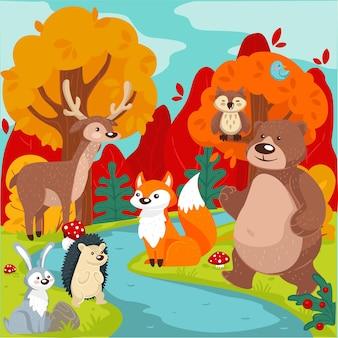 Pustkowie lasu lub drewna, przyjazne urocze zwierzęta nad rzeką. lis i niedźwiedź, jeleń i króliczek, jeż i własny. flora i fauna czystej natury, naturalny krajobraz w sezonie jesiennym, wektor w mieszkaniu
