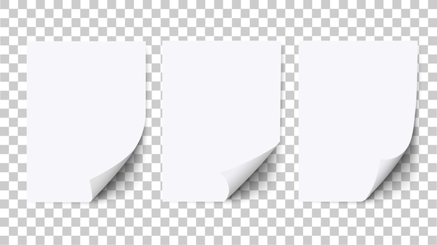 Pusty arkusz białego papieru z zawiniętym rogiem i cieniem, makiety papieru. realistyczny pusty szablon wygięty a4 na białym tle. wektor zestaw