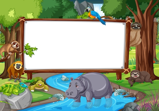 Pusty baner na scenie lasu deszczowego z dzikimi zwierzętami