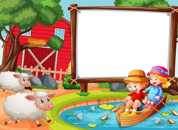 Pusty baner na scenie leśnej z dziećmi wiosłować łodzią