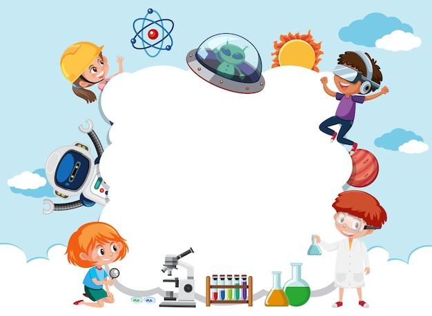 Pusty baner w chmurze z dziećmi w motywie technologii