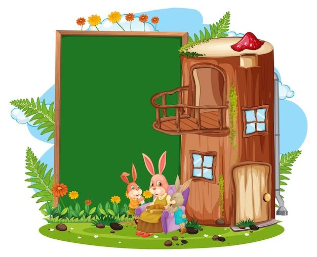 Pusty baner w ogrodzie z cute królików na białym tle